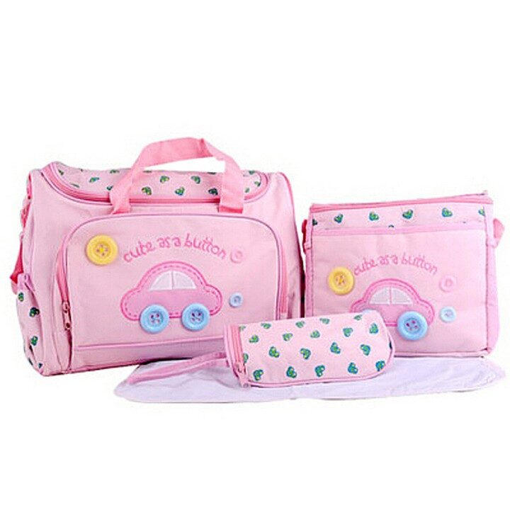 Baby Diaper Bag - Car with Button - Set of 4 in Pink