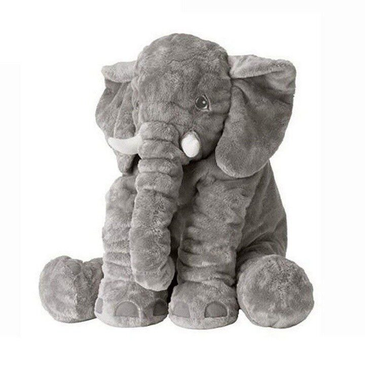 Large Elephant Plush Toy For Babies - Gray