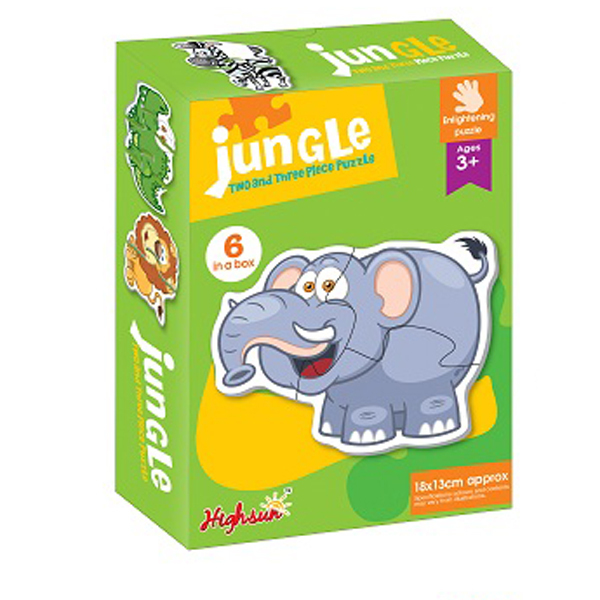 Jungle Animals 2 and 3 Piece Jigsaw Puzzle